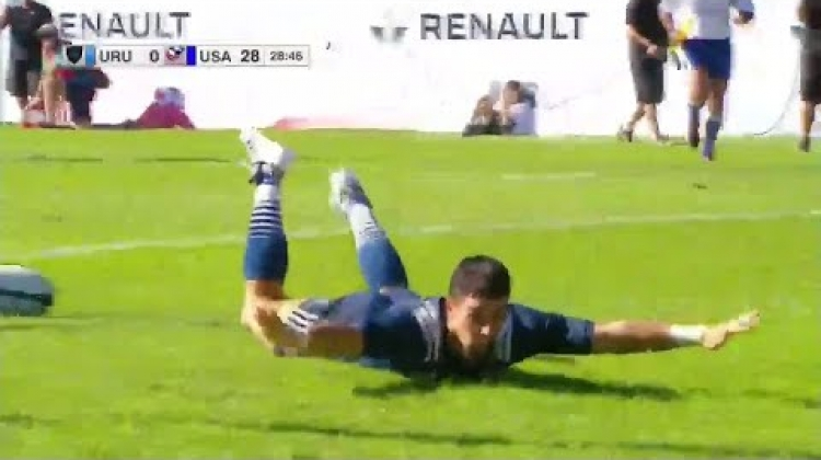 Nate Augspurger with the epic celebration - Americas Rugby Championship