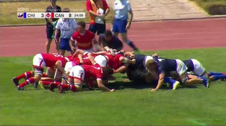 Lucas Rumball smashes over for Canada - Americas Rugby Championship