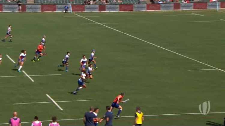 Highlights: Quarter-finals confirmed on day one of women's RWC 7s