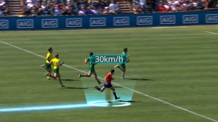 Referee Jeremy Rozier shows his pace at Rugby World Cup Sevens