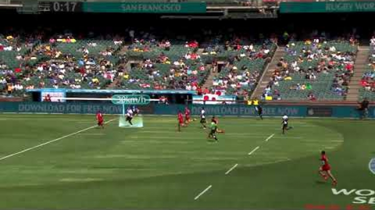 Josefa Lilidamu stretches his legs at Rugby World Cup Sevens